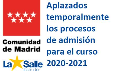 Aplazado el proceso de admisión para el curso 2020-2021